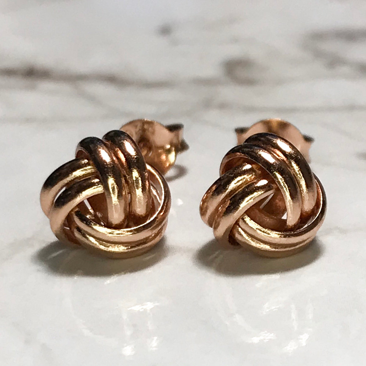 NEW 14K Gold Layered on Sterling Silver Small Yarn Design Stud Earrings