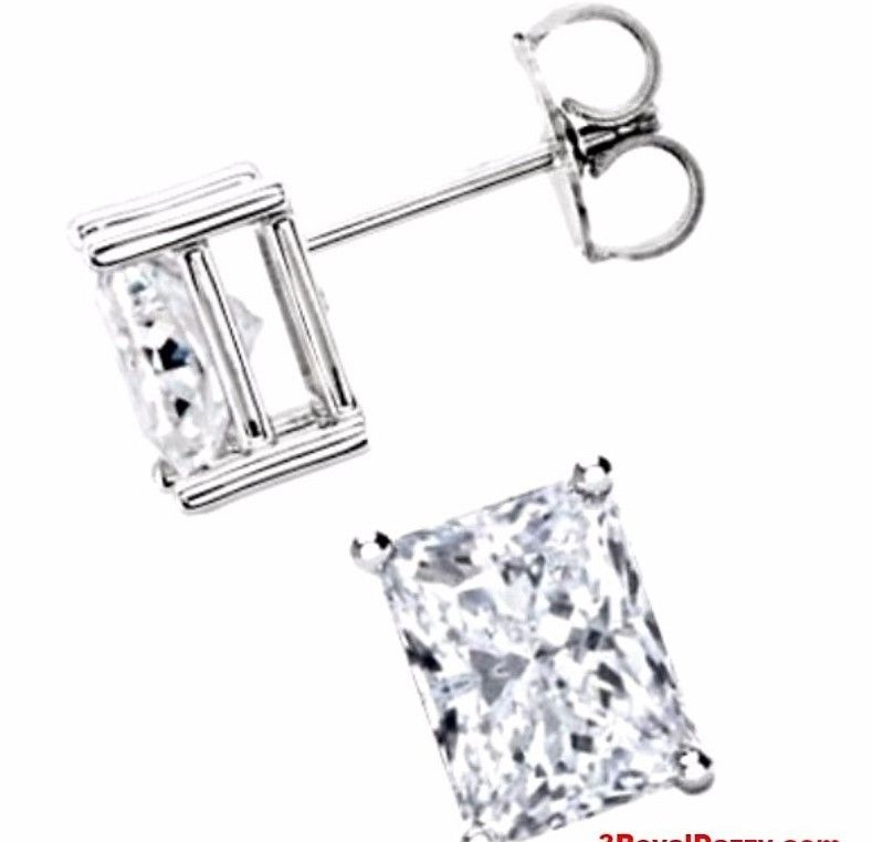 18k Layered Sterling Silver 1ct CZ Emerald / Rectangle Cut Solitaire Prong Stud - 3 Royal Dazzy
