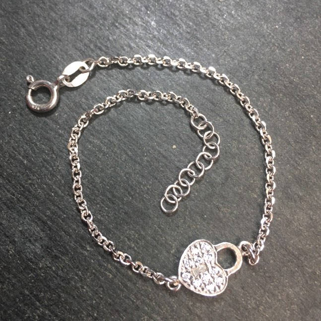 New 14k White Gold Layer On 925 Silver Cz Heart Lock Link Bracelet 9.2mm-7""