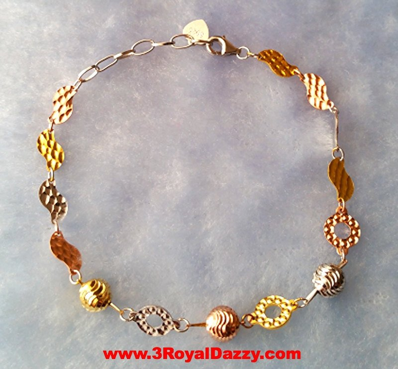 14k Rose, Yellow, White Gold Layer on 925 Sterling Silver Eye Catching Bracelet - 3 Royal Dazzy