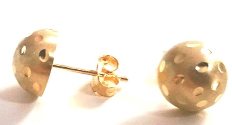 14k Yellow gold layer 925 Sterling Silver Half Round Flat Ball Stud Earring 6 MM - 3 Royal Dazzy