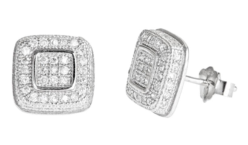 14k White gold layer Medium size Bling Bling Square CZ 925 Silver MicroPave Earrings - 3 Royal Dazzy
