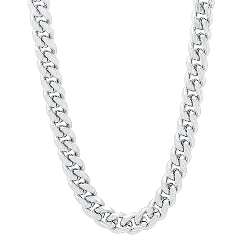 "14k White gold Layer on Solid 925 Sterling Silver Miami Cuban Chain- 5 mm - 26"" - 3 Royal Dazzy"