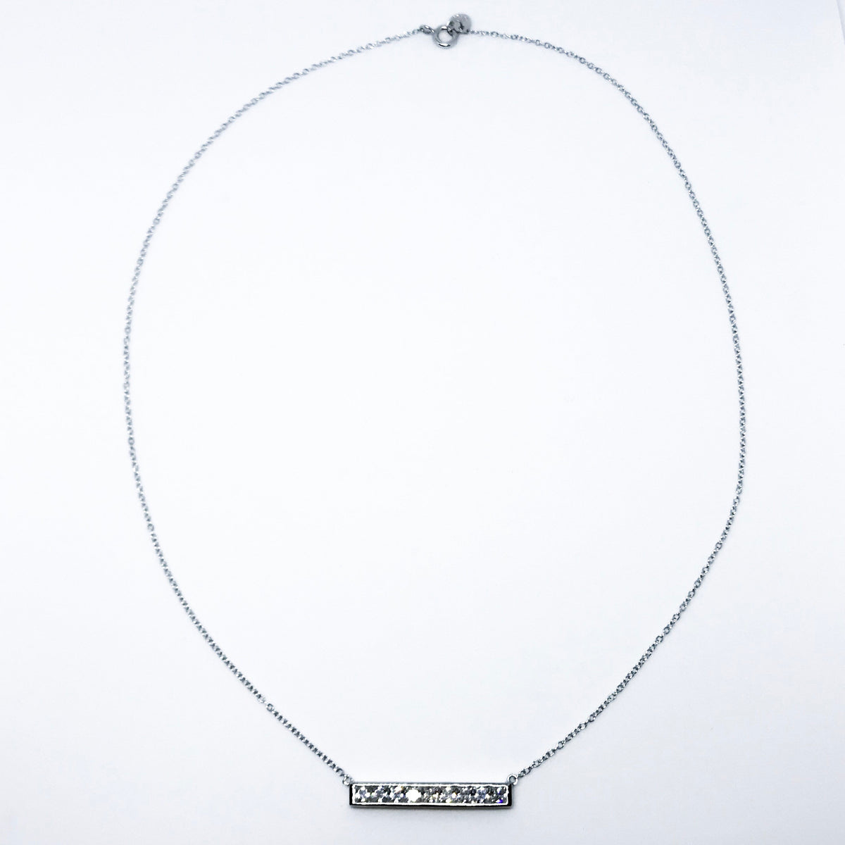 14K White Gold on 925 Sterling Silver Bar Necklace - 3 Royal Dazzy
