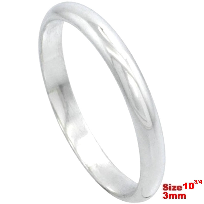 Italy 14k white gold layered on.925 silver high polished wedding band ring 3mm Size 10.75