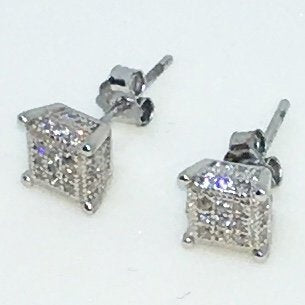14k White Gold Layered Small cube shaped CZ on 925 Solid Sterling Silver Stud Earrings ( 6 . 2 mm )