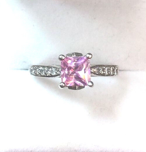New Royal Dazzy Exclusive Pink Cubic Zirconia Engagement Wedding ring Size 8