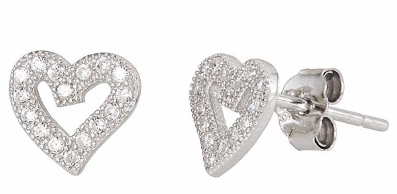 Heart shape Stud Earrings on Cubic Zirconia 18k white gold / 925 Sterling Silver