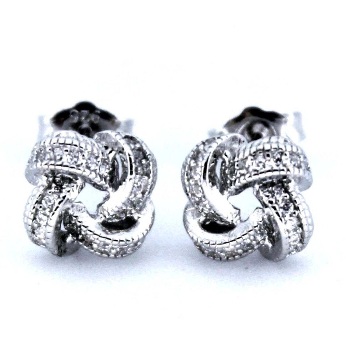 Small 14K White Gold on Sterling Silver Knot Earrings