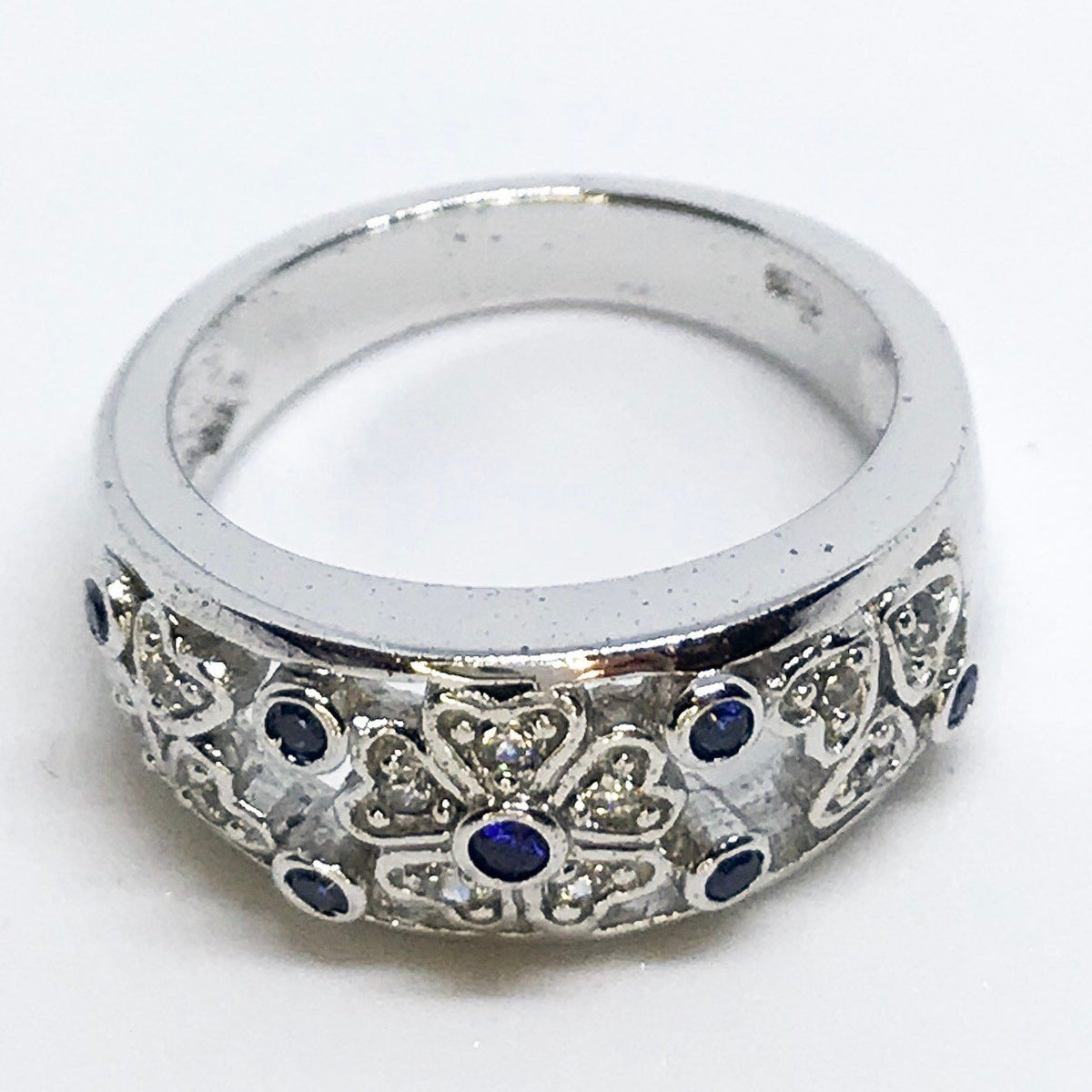 NEW 14K White Gold Layered on Sterling Silver Heart Flower with Blue Stones Ring