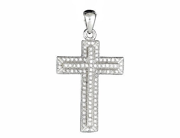Causal Comfy Cross Pendant Micro Pave CZ .925 Sterling Silver