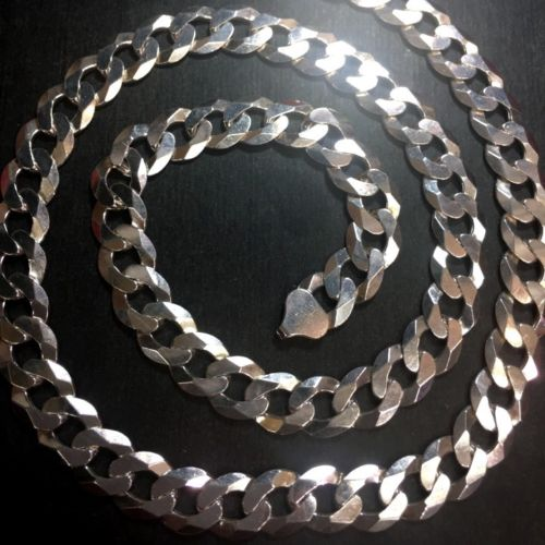 New Big Heavy Solid Sterling Silver Italian Wide Curbs Chain Necklace 11mm-24""
