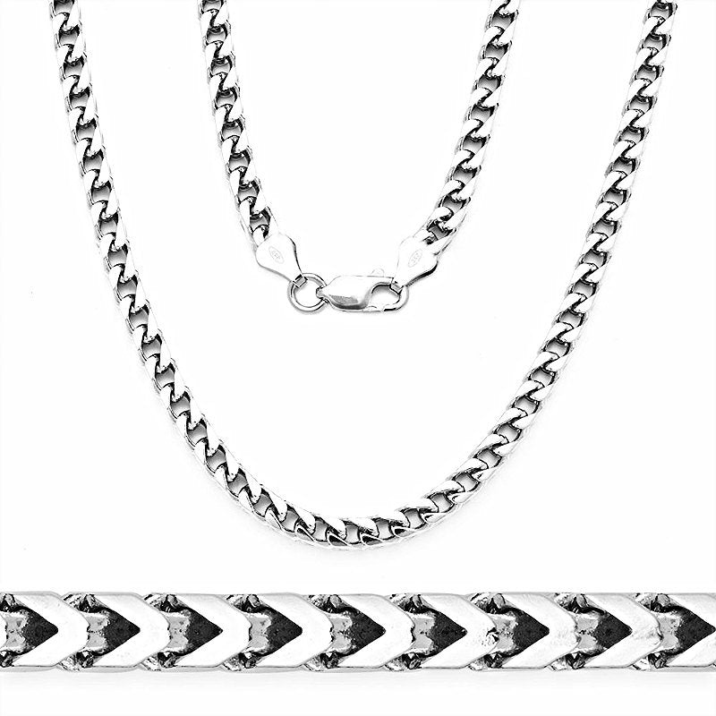 "14k White gold Layer on Heavy 925 Solid Sterling Silver Square Franco Chain- 3.7 mm - 30"" - 3 Royal Dazzy"