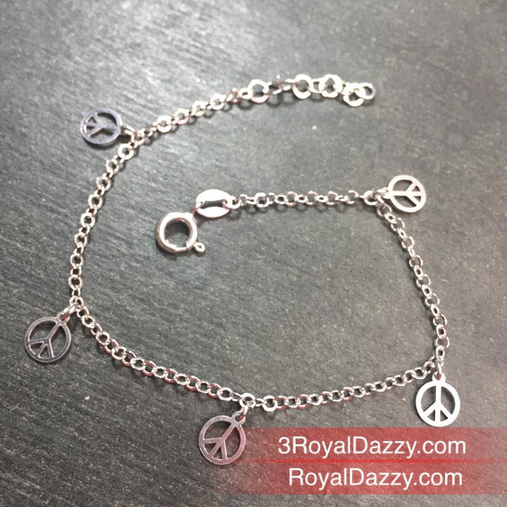 New 14k Gold Layer On 925 Silver Dangling Peace Charm Link Bracelet 1.1mm-7""