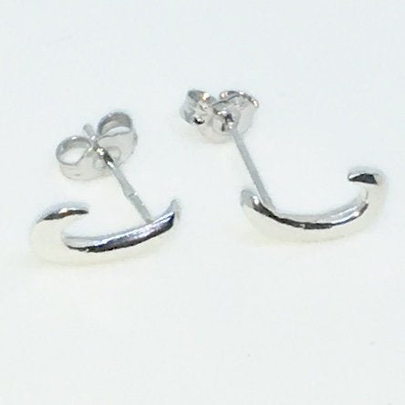 New Handcraft Small Hook on 925 Solid Sterling Silver Stud Earrings ( 6 . 2 mm )