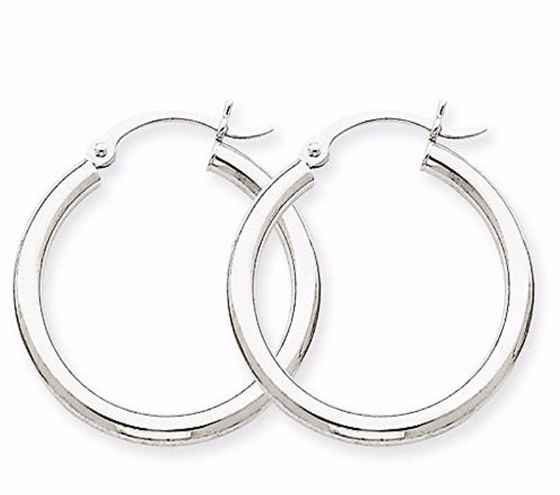 Plain Round Hoop Earring 14kt gold layer on Silver notched w/ Post Back-2mm 14mm