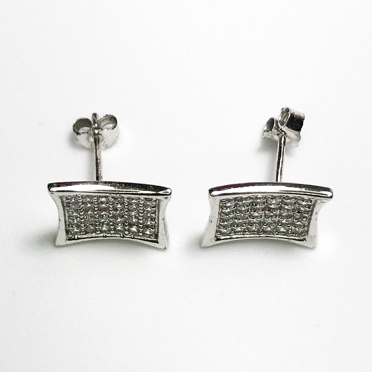 NEW 925 Sterling Silver Smaller Curved Square with Stones Stud Earrings