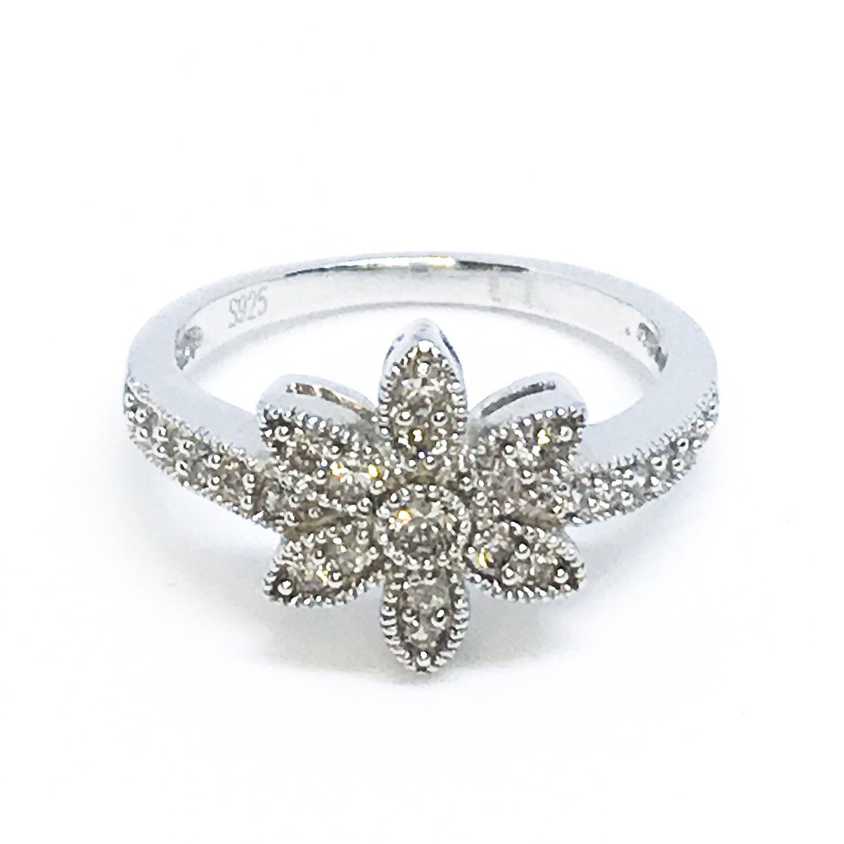 NEW 14K White Gold on Sterling Silver Floral Ring with Stones