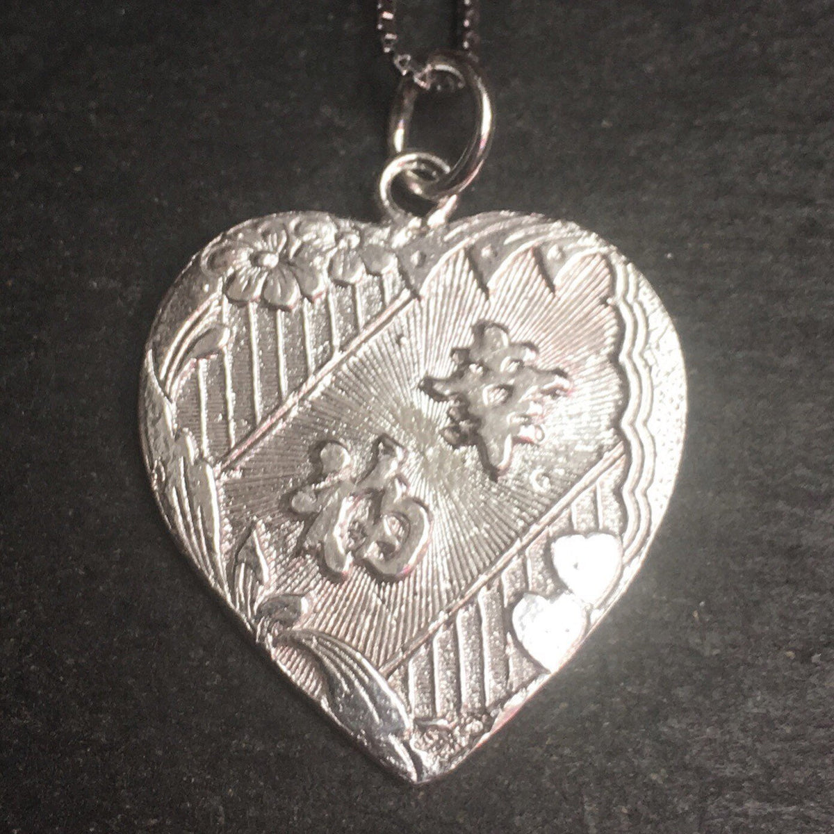 "New 925 Silver Chinese Character Writing - ""Lucky"" & Sailing Boat Heart Charm Pendant Reversible Design"