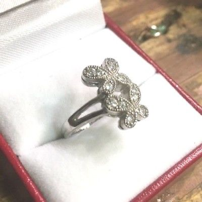 14k White Gold Layer On Sterling Silver Cubic Zirconia Butterflies ring Size 5 - 3 Royal Dazzy