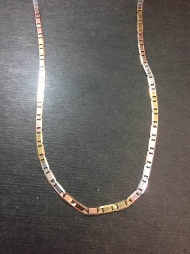 "14k White Rose Yellow Gold Layer On 925 Italian Tri-color Marina Chain 3mm-20"" - 3 Royal Dazzy"