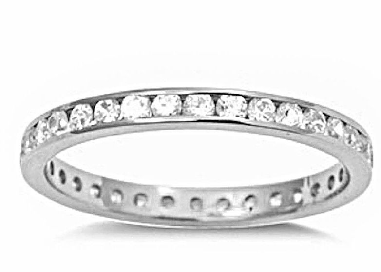 14k W Gold layer on Sterling Silver Wedding 1.00ct- CZ Eternity Ring Band Size 8 - 3 Royal Dazzy