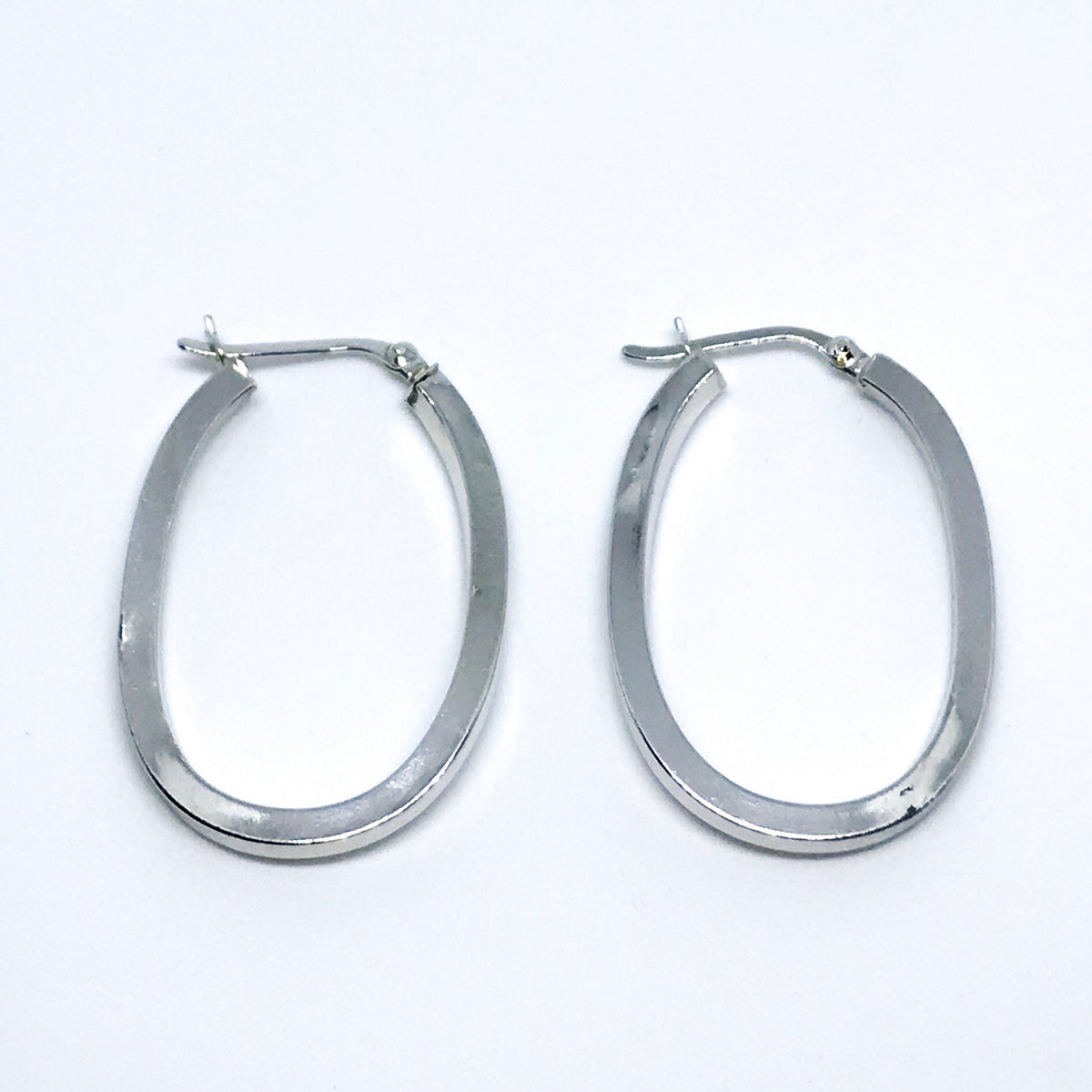 14k white gold on sterling silver hoops with no stone earrings - 3 Royal Dazzy