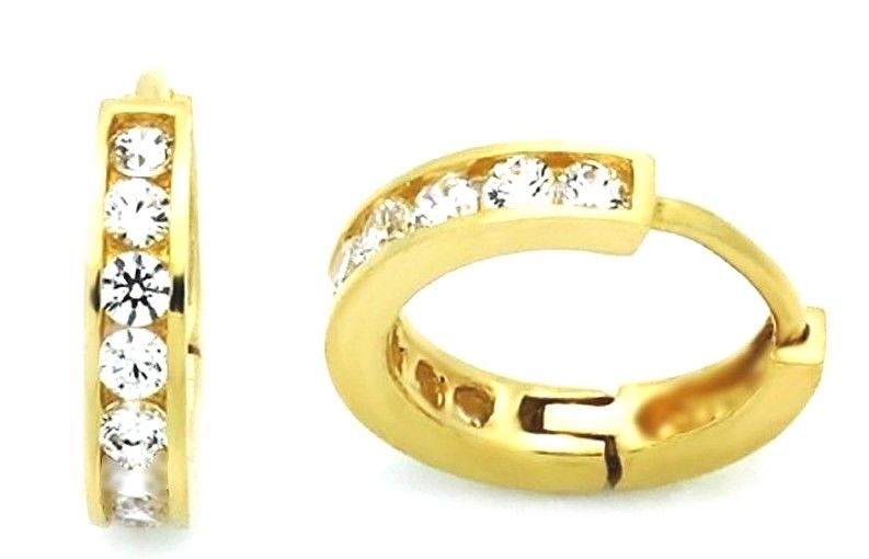 14k Yellow gold layer Brilliance Round Cut CZ Hoop Huggie Earring / Solid Silver - 3 Royal Dazzy