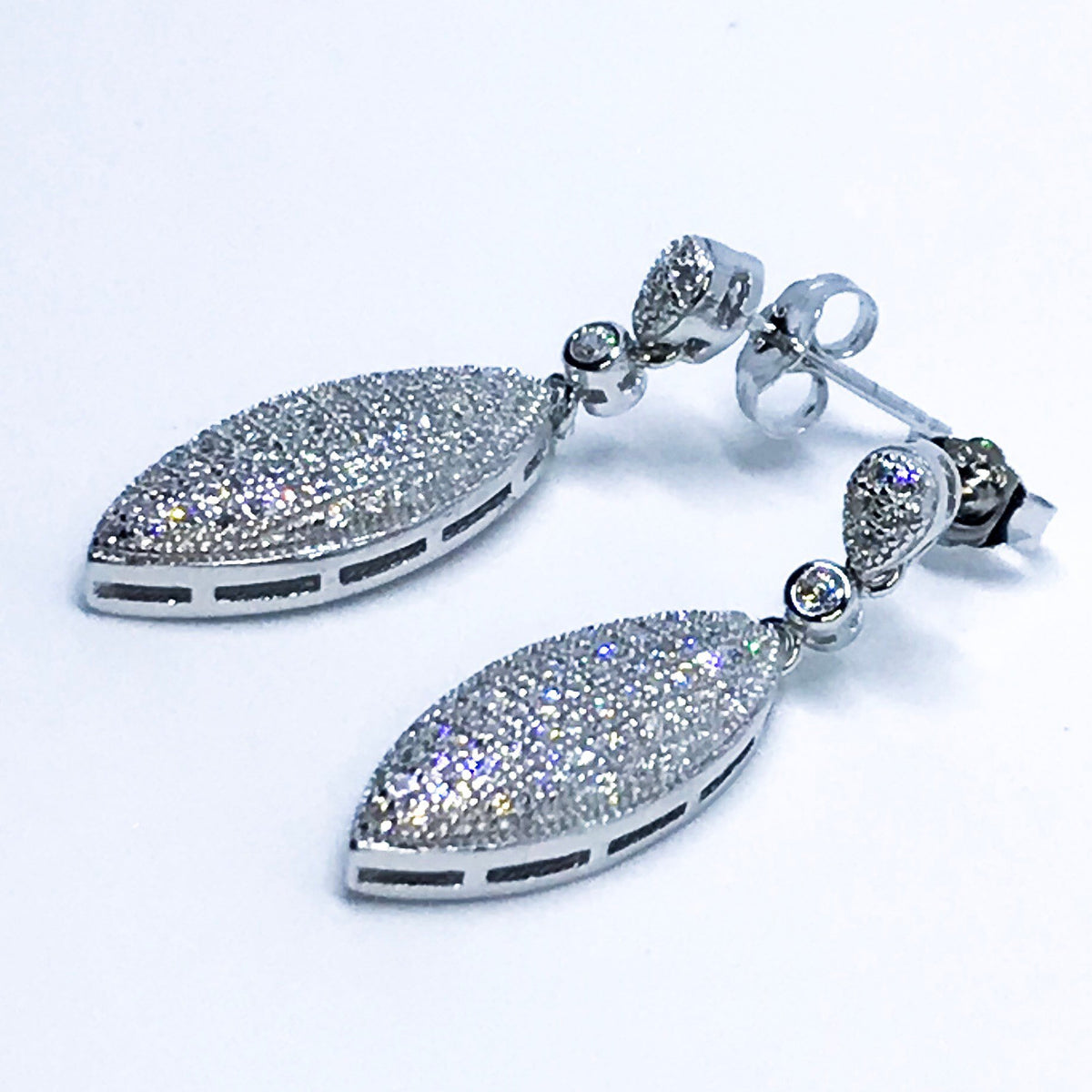 14k White Gold on Sterling Silver Almond Shaped Dangling Earrings - 3 Royal Dazzy