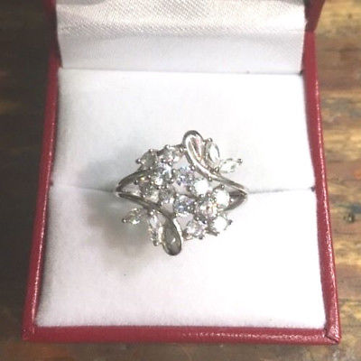New 14k White Gold Layer On 925 Sterling Silver Cubic Zirconia Flower ring Size8