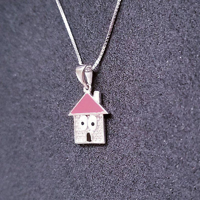 Sterling Silver House CZ Stones Pendant Free Chain