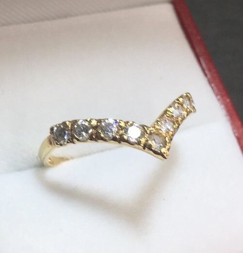 New 14k Solid Yellow Gold Cubic Zirconia Stackable 1 Roll ring -1.2g Size 7.25