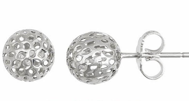 New 9 mm Round Hollow Shiny Cut Ball Earring 18k Layered on .925 Sterling Silver