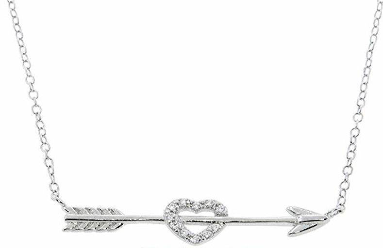 14k white Gold layer on Sterling Silver CZ Crystal Heart & Arrow Love Necklace - 3 Royal Dazzy