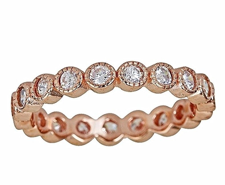 14k Rose Gold on Silver Antique Style Bezel Set Eternity Stackable Ring Band S-6 - 3 Royal Dazzy