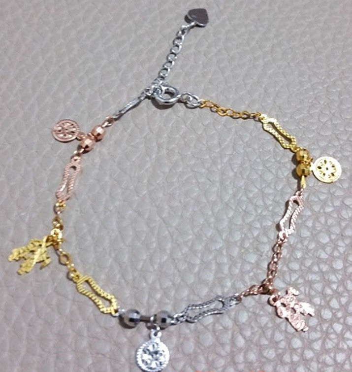 14k Tri-Color Gold Layer on 925 Silver Dangling Boy And Girl Kiss Charm Bracelet - 3 Royal Dazzy