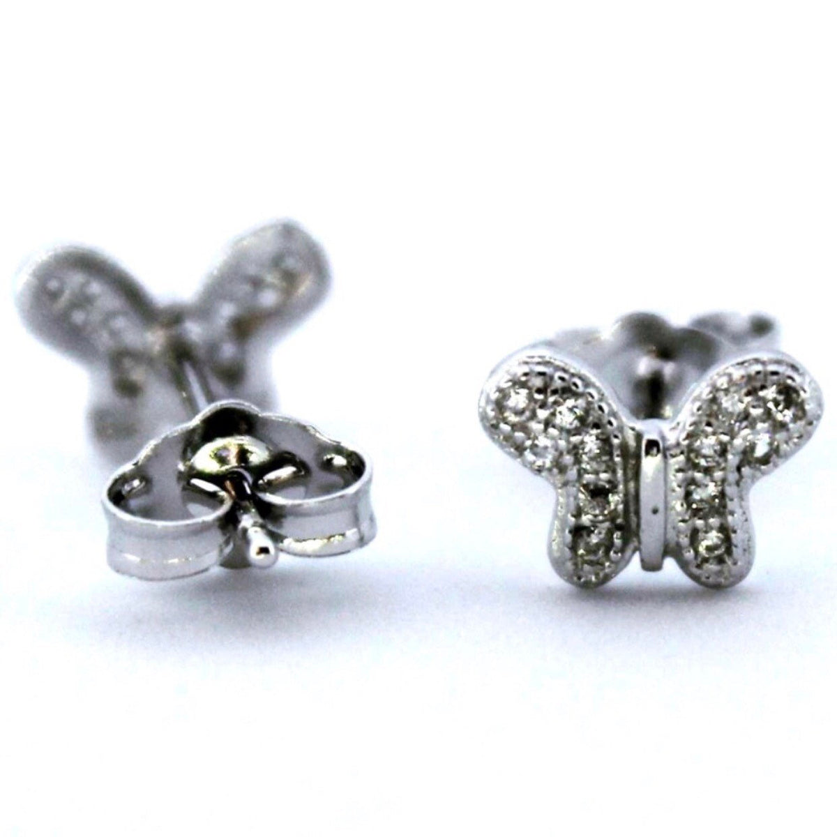 14K White Gold on Silver Butterfly Stud Earrings - 3 Royal Dazzy