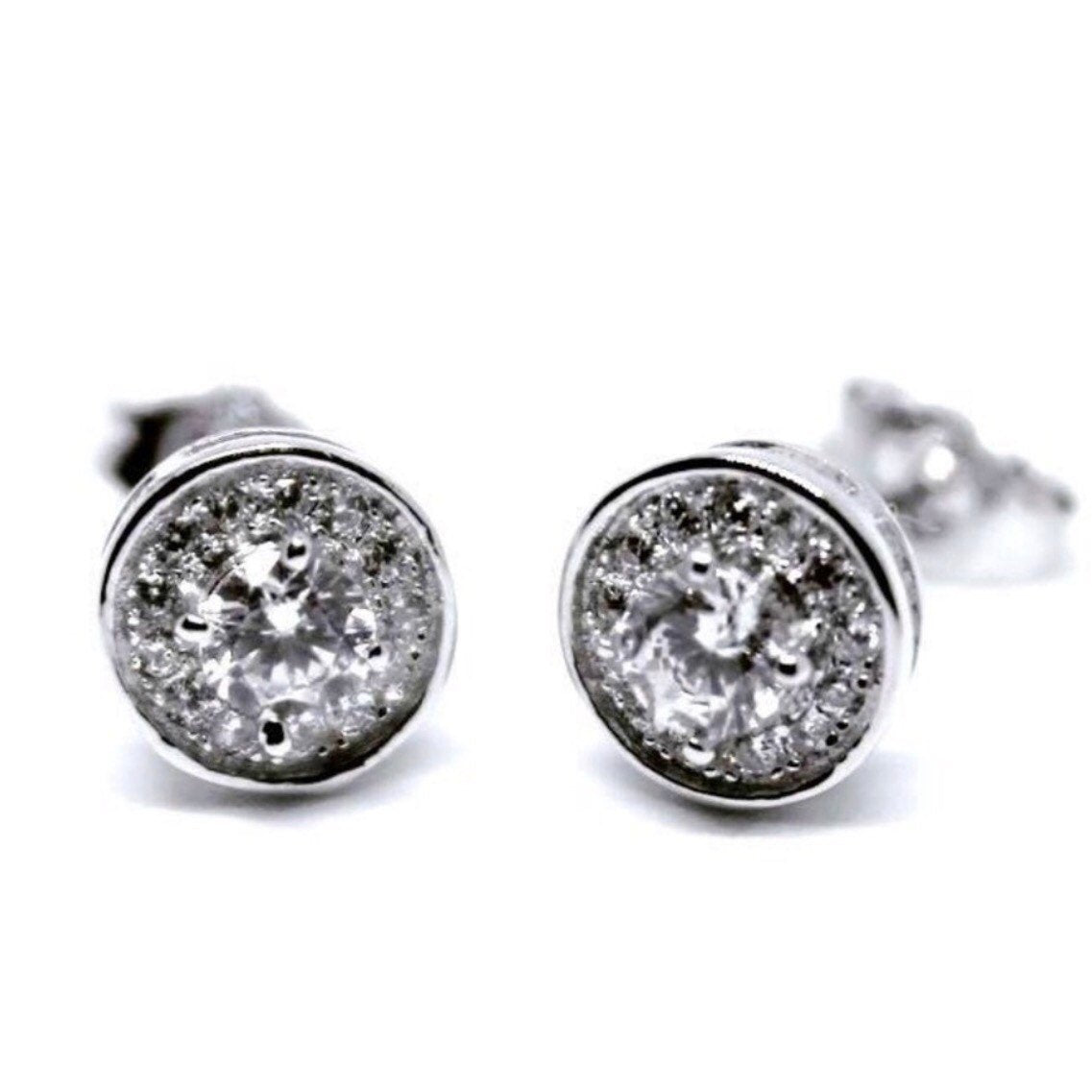 14k White Gold on 925 Silver Round Earrings - 3 Royal Dazzy