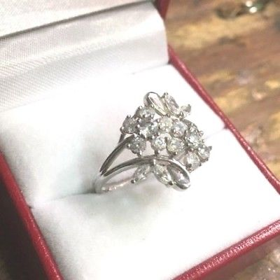 New 14k White Gold Layer On Sterling Silver Cubic Zirconia Flower ring Size 6.5