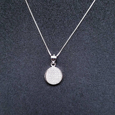 Sterling Silver Round CZ Stones Pendant Free Chain