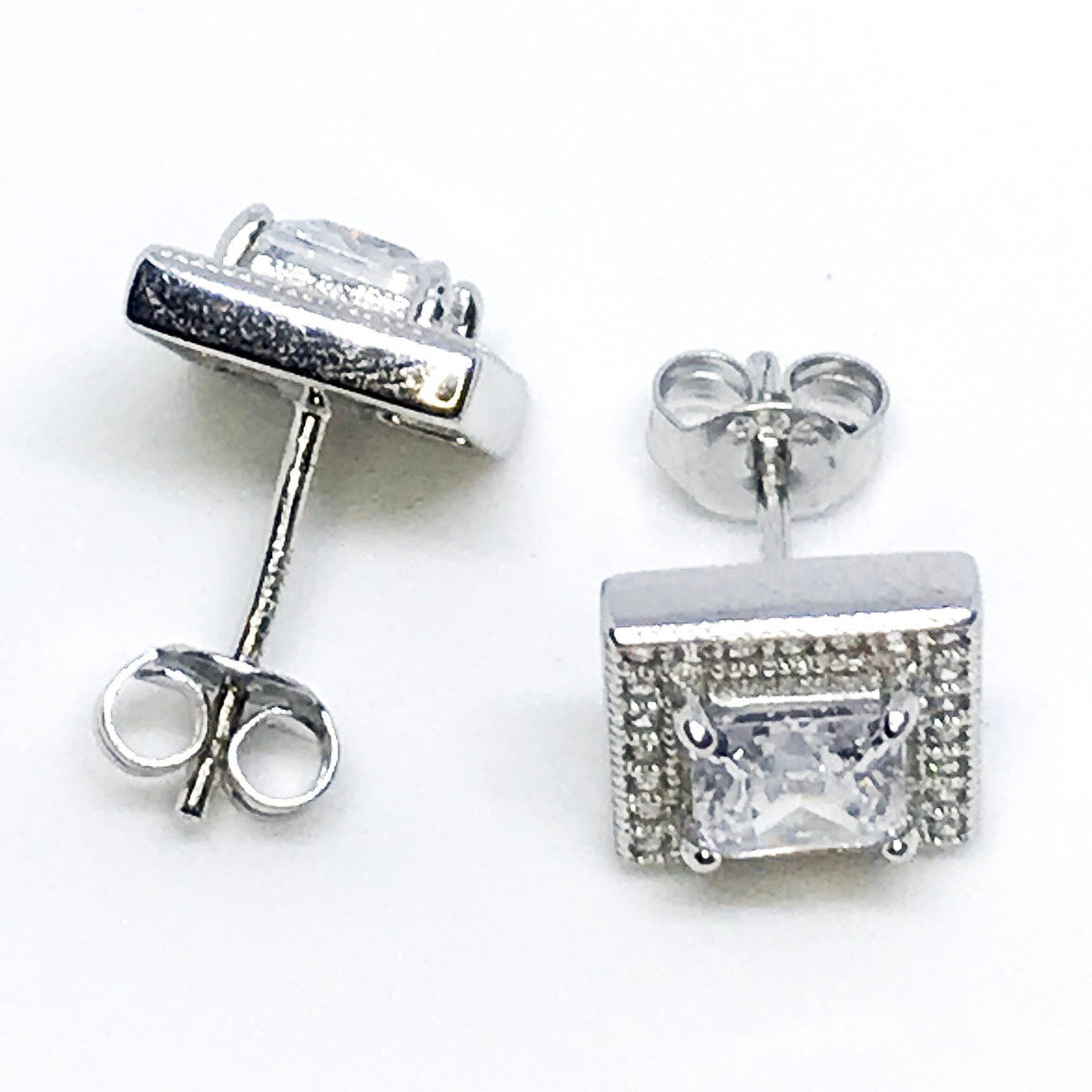 NEW 14K White Gold Layered on Sterling Silver Square Earrings