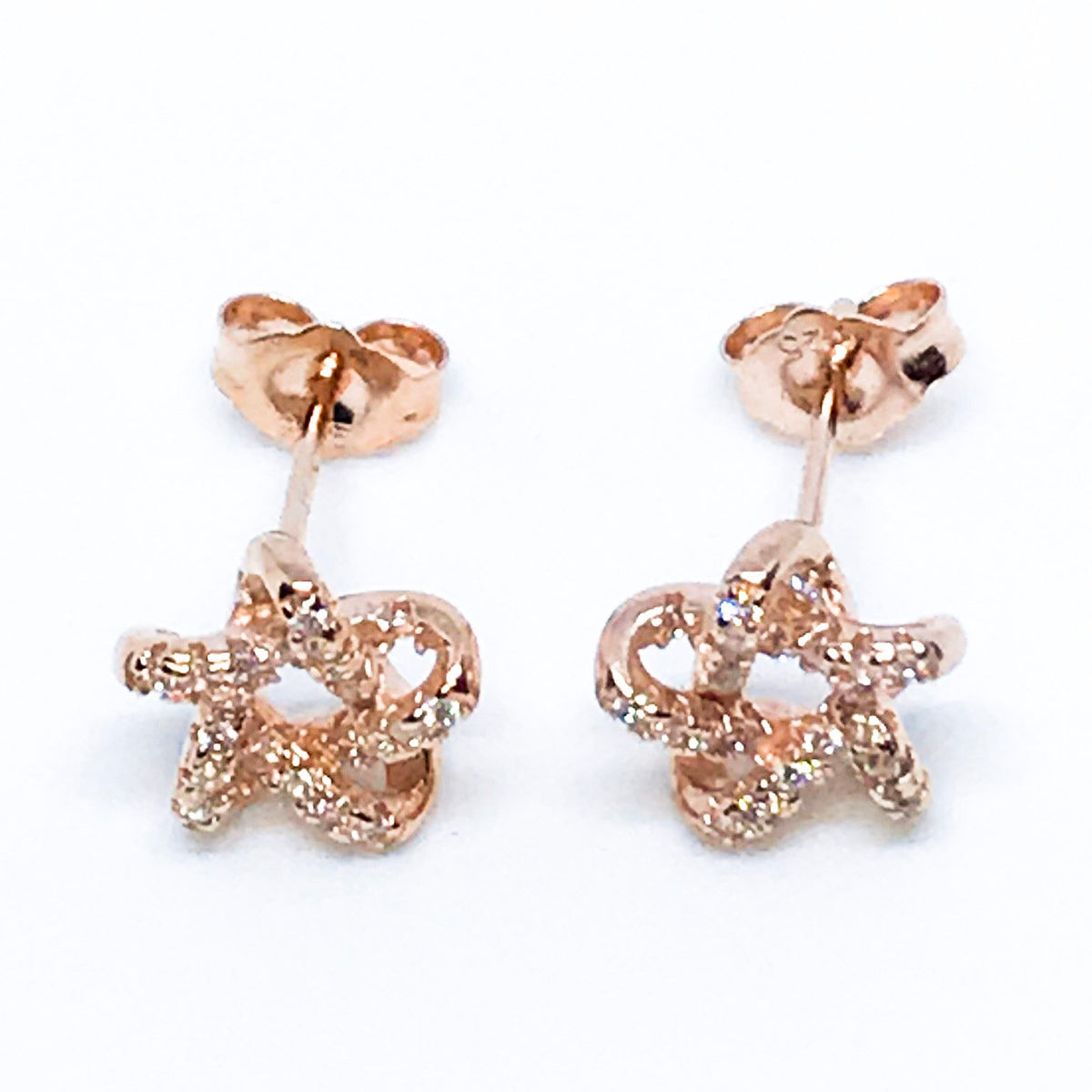 14k Rose Gold Layered on Sterling Silver Star Earrings - 3 Royal Dazzy
