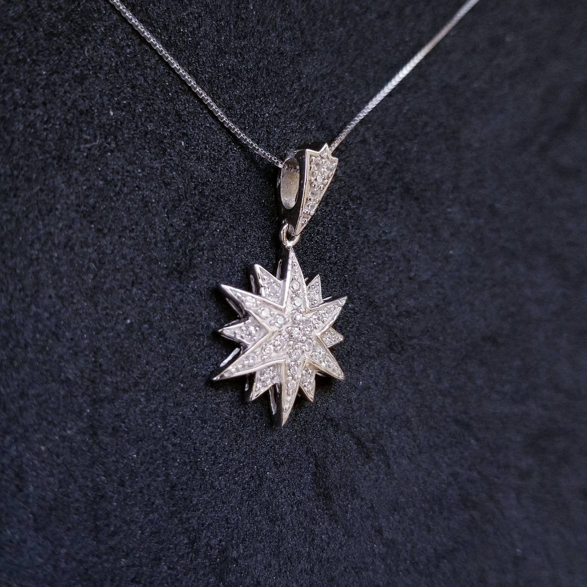 New 14k White Gold On 925 Sterling Silver Shiny Starburst CZ Stones Pendant Free Chain