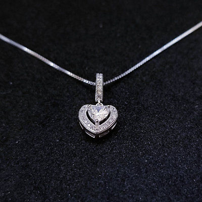 New 14k White Gold On 925 Sterling Silver Small Halo Heart CZ Stones Pendant Fr