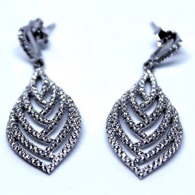 Unique Leaf Dangling Sterling Silver Earrings