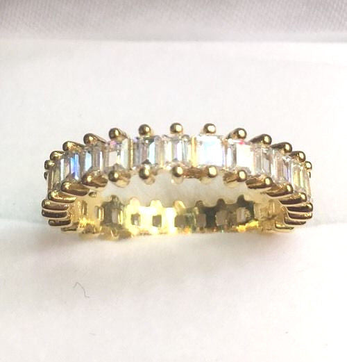 New 14k Yellow Gold Layer On 925 Sterling Silver 1 ct CZ  Eternity ring Size 8