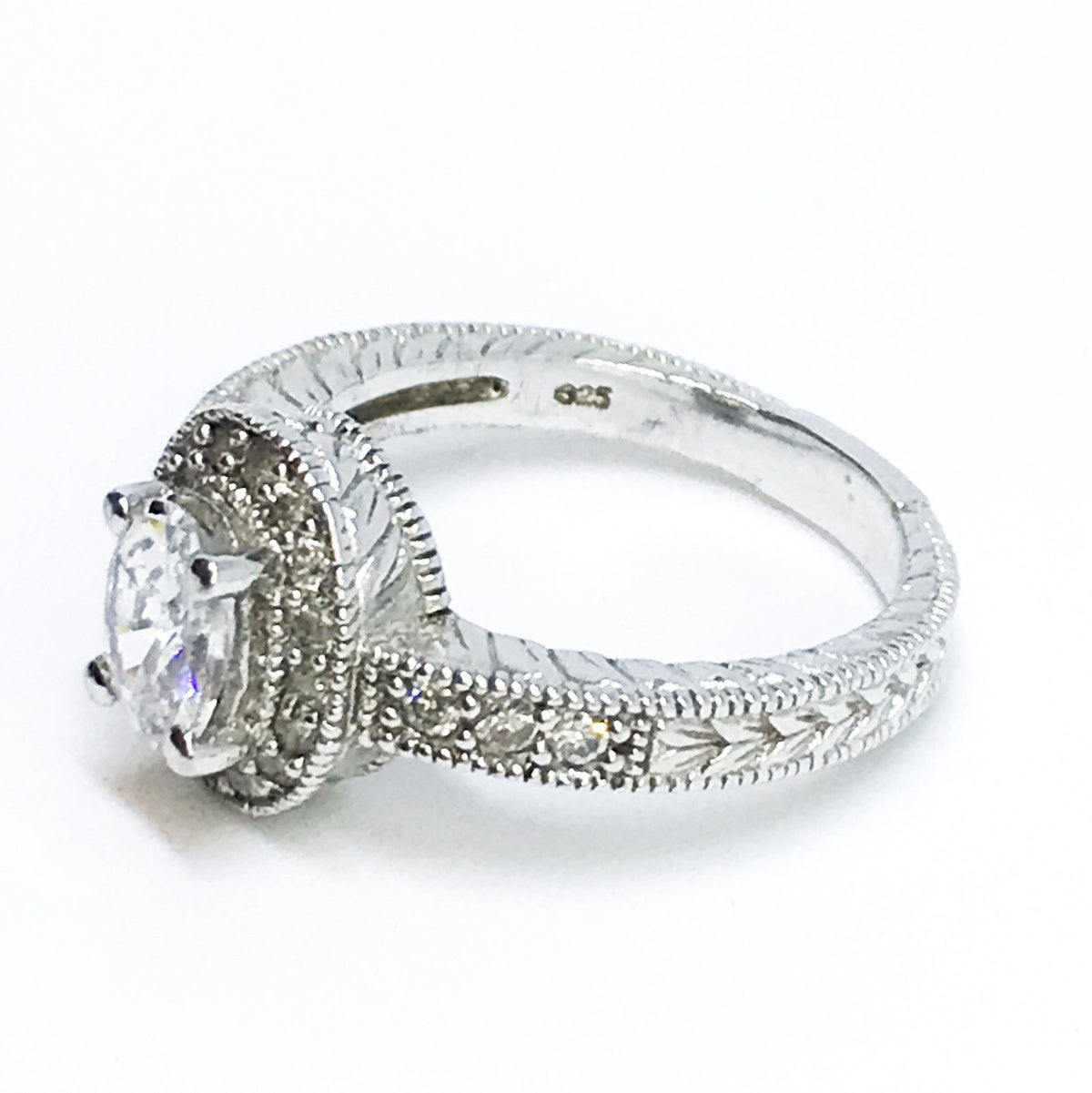14K White Gold Layered On Sterling Silver Oval Ring - 3 Royal Dazzy