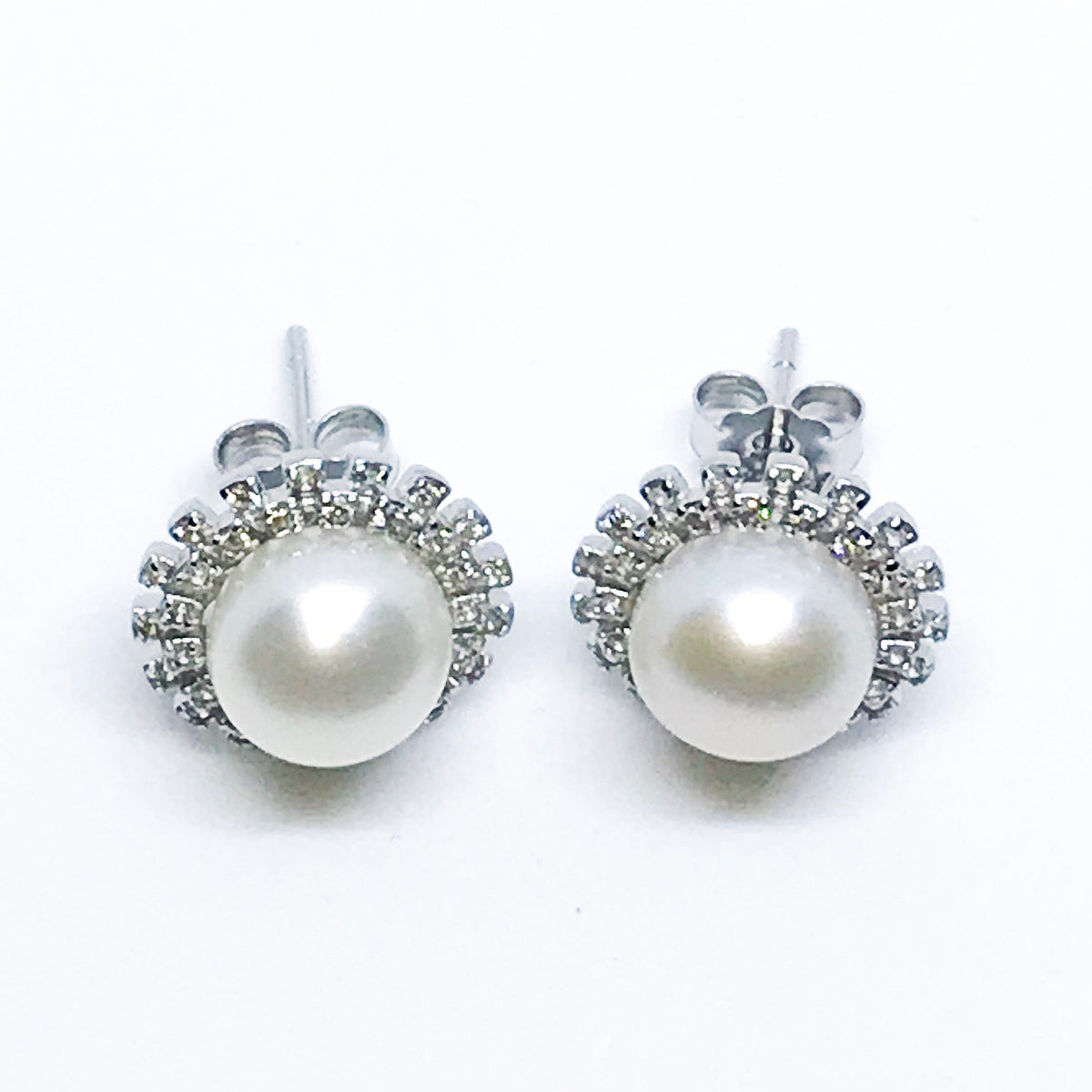 NEW 14k white gold layered on sterling silver pearl with halo studs earrings