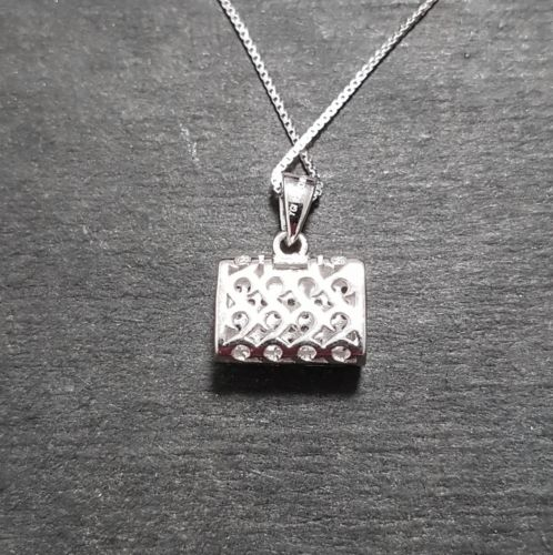 New 14k White Gold On 925 Sterling Silver Purse Pendant Charm with free chain