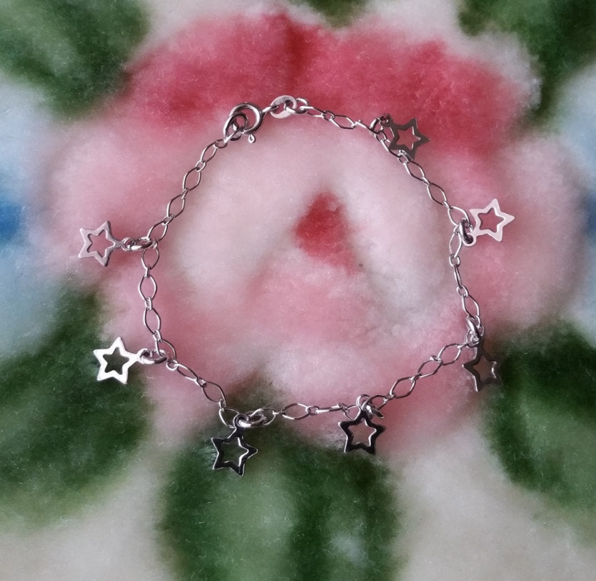 18k White Gold layer on Solid 925 Sterling Silver Dangling Unique Star Charms Bracelet - 3 Royal Dazzy